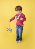 Child with Easter Egg Basket, Egg Hunt Stock Images