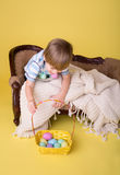 Child with Easter Egg Basket, Egg Hunt Royalty Free Stock Image