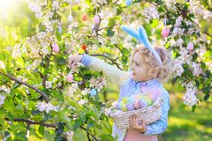 Kids on Easter egg hunt in blooming garden. Child on Easter egg hunt in blooming cherry tree garden with spring flowers. Kid with colored eggs in basket. Little royalty free stock photos