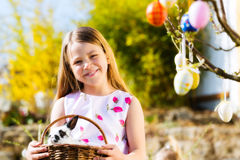 Child on Easter egg hunt with bunny Stock Photo