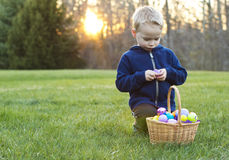 Child at an Easter Egg Hunt. Child searching for eggs at an Easter Egg Hunt on a Sunny day Royalty Free Stock Photos