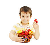 Child with Easter eggs Royalty Free Stock Photos