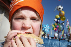 Child eat lunch burger Royalty Free Stock Images