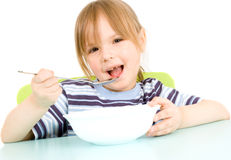 Child eat soup Royalty Free Stock Image