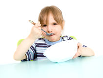 Child eat soup Stock Image