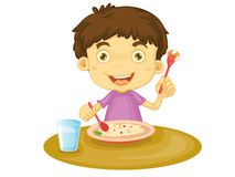 Child eating. Illustration of child eating at a table vector illustration
