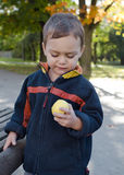 Child eating apple in park Royalty Free Stock Images