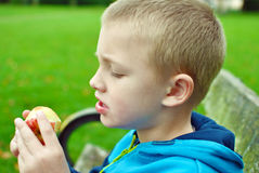 Child eating apple. Child sitting on the bench and eating apple royalty free stock photos