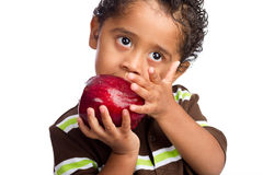 Child Eating Big Apple Stock Photos