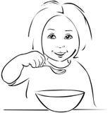 Child eating - black outline Stock Image