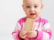 Child eating bread. Infant eating a slice of healthy, crunchy bread Royalty Free Stock Photos