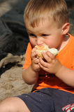 Child eating bread roll Stock Image