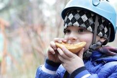 Child eating cake Stock Photo