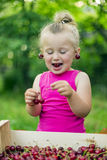 Child eating cherries Stock Photo