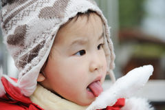 Child eating cotton candy Royalty Free Stock Images