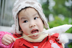 Child eating cotton candy Royalty Free Stock Photography
