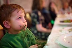 Child eating dill Royalty Free Stock Photography