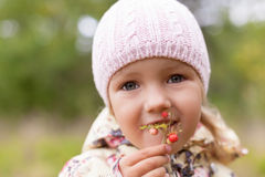 Child eating fun wild strawberry twig holding hand Royalty Free Stock Image