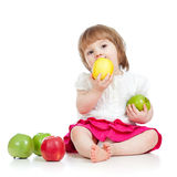 Child eating healthy food apples Stock Photo