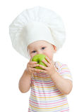 Child eating healthy food green apple isolated Royalty Free Stock Photography
