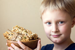 Child eating healthy food stock photo