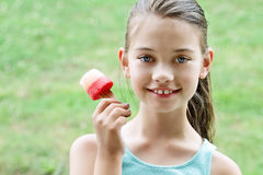 Child Eating Healthy Fruit Popsicle Royalty Free Stock Photography
