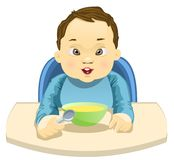 Child Eating his Meal. A little child holding a spoon ready to eat his meal Stock Illustration