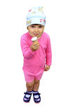 Child eating ice-cream. On the white background Royalty Free Stock Photos