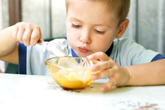 Child eating ice cream Royalty Free Stock Photo
