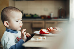 A child eating a pomegranate Stock Images