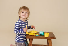 Child Eating Pretend Food Royalty Free Stock Photos