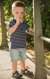Child eating a snack Stock Images