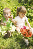 Child eating strawberries. Stock Photography