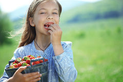 Child eating strawberries in a field Royalty Free Stock Photography