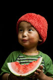 Child eating watermelon Royalty Free Stock Photo