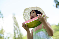 Child eating watermelon Stock Images