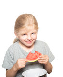 Child eating watermelon Royalty Free Stock Photography