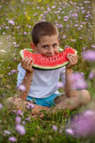 Child eating watermelon Royalty Free Stock Images