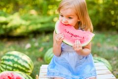 Free Child Eating Watermelon In The Garden. Kids Eat Fruit Outdoors. Healthy Snack For Children. 2 Years Old Girl Enjoying Watermelon Royalty Free Stock Image - 187249256