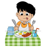 The child eats breakfast that can affect the growth of children. Ivery much.vector and illustration Royalty Free Stock Image