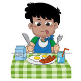 The child eats breakfast that can affect the growth of children. Ivery much.vector and illustration Stock Photos