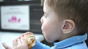 A child eats a bun with a cutlet and cheese in a fast food restaurant stock video footage