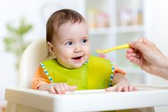 Child eats healthy food sitting in hich chair in Royalty Free Stock Images