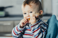 The child eats Lunch,meat chicken Stock Images