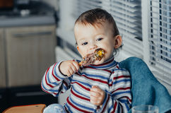 The child eats Lunch,meat chicken Stock Photos
