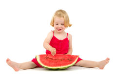 Child eats melon Royalty Free Stock Photos