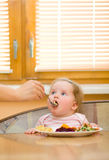 The child eats a vegetable salad Stock Image