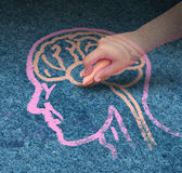 Child Education. Children education concept  and school learning development with the hand of a child drawing a human head and brain with chalk on a cement floor Stock Images