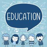 Child with a education ispeech bubble on icon background. Royalty Free Stock Images