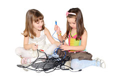 Child with a electric cable Stock Photo
